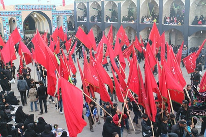 Red flags in a celebration of Muharram in Iran.