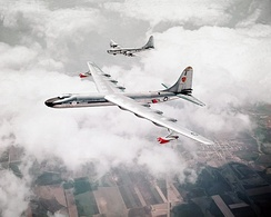 The NB-36H in a test flight, shadowed by a Boeing B-50 Superfortress