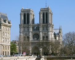 The western façade of Notre Dame de Paris, completed in 1345