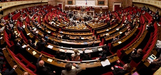 The National Assembly in session in the Palais Bourbon