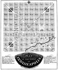 "Alexander Ralston's ""Plat of the Town of Indianapolis,"" today known as the Mile Square."