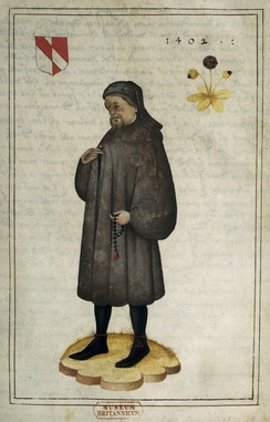 Portrait of Chaucer (16th century), f.1 – BL Add MS 5141. The arms are: Per pale argent and gules, a bend counterchanged
