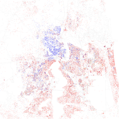 Map of racial distribution in Jacksonville, 2010 U.S. Census. Each dot is 25 people: White, Black, Asian Hispanic, or Other (yellow)