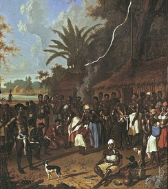 18th-century painting of Dirk Valkenburg showing plantation slaves during a Ceremonial dance.