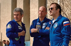 The crew at the Baikonur Cosmodrome
