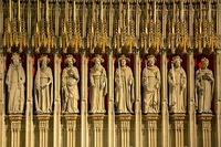 Some of the 15 statues of kings, from William the Conqueror to Henry VI, in the 15th-century Kings Screen