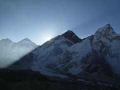 The sun rising on Everest in 2011
