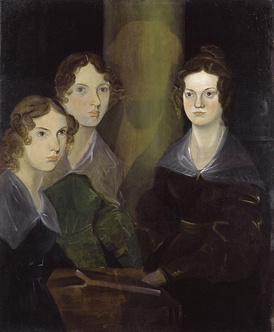 Anne, Emily, and Charlotte Brontë, by their brother Branwell (c. 1834). He painted himself among his sisters, but later removed the image so as not to clutter the picture.