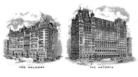 Engraved vignettes of the original separate hotels