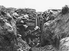 Trenches and sand bags were defences against machine guns and artillery on the Western Front, 1914–1918