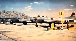 Fighter Weapons School F-80As c. 1950 in front of Frenchman Mountain which is east of the valley.[5]:3–6