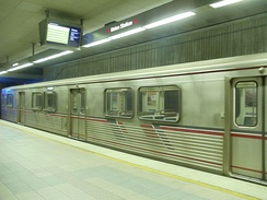 Metro Red Line train entering Union Station.