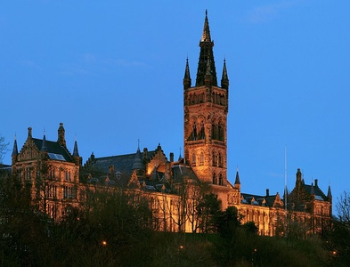The Gilbert Scott Building of University of Glasgow, as viewed from Kelvingrove Park, Glasgow. An example of the Gothic Revival style