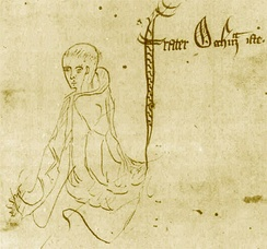 A sketch of William of Ockham, from a 1341 manuscript of Ockham's earlier nominalist work, Summa Logicae