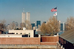 The World Trade Center, as seen from Liberty Island in 1995