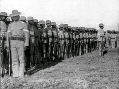 The 24th U.S. Infantry (primarily made up of African-American soldiers) at drill in Camp Walker, Cebu, 1902