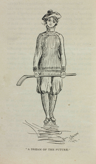 Drawing of a female ice hockey player, from Hockey: Canada's Royal Winter Game (1899)