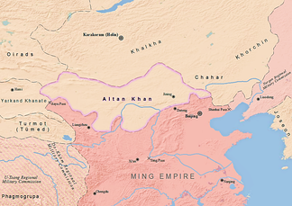 The region ruled by Altan Khan as of 1571 AD