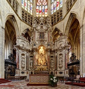 Altar in the choir of the Toulouse Cathedral (gothic of northern France).