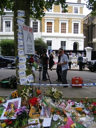 Tributes outside Amy Winehouse's home at Camden Square days following her death on 23 July 2011