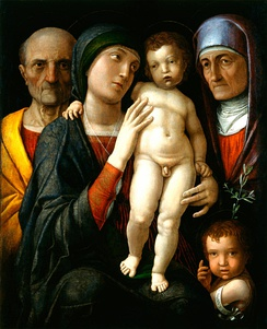 Holy Family with Saints Anne and John the Baptist, Andrea Mantegna, 1495-1500