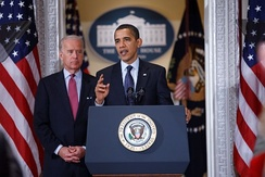 President Barack Obama and Vice President Joe Biden speak to state legislators about the implementation of the Recovery Act on March 20, 2009.