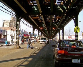 Broadway under the IRT Broadway–Seventh Avenue Line's elevated structure in the Bronx