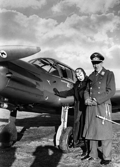 Theo Osterkamp and his wife, Fel Gudrun, with a Messerschmitt Bf 108 (1938)