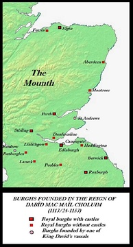Burghs established in Scotland before the accession of Máel Coluim, essentially Scotland-proper's first towns
