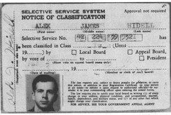 "Fake Selective Service System (draft) card in the name of ""Alek James Hidell"", which was found on Oswald when he was arrested. ""A. Hidell"" was the name used on both envelope and order slip to buy the alleged murder weapon (see CE 773),[194] and ""A. J. Hidell"" was the alternate name on the New Orleans post office box rented June 11, 1963, by Oswald.[195] Both the alleged murder weapon and the pistol in Oswald's possession at arrest had earlier been shipped (at separate times) to Oswald's Dallas P.O. Box 2915, as ordered by ""A. J. Hidell"".[196]"