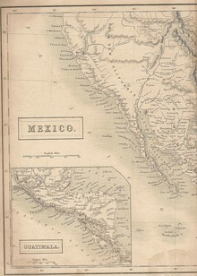 Map showing Alta California in 1838 when it was a sparsely populated Mexican province.[34]