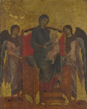 In the early Renaissance, the infant Jesus was sometimes shown dressed in pink, the color associated with the body of Christ. This is The Virgin and Child Enthroned with Two Angels, by Cimabue. (1265–1280)