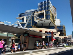 Civic light rail station with the UoN NewSpace (X) building in the background