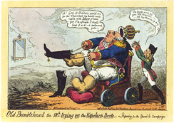 Old Bumblehead the 18th trying on the Napoleon Boots – or, Preparing for the Spanish Campaign, by George Cruikshank, mocked the French Intervention in Spain.