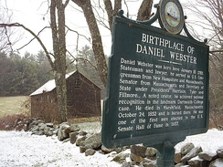 New Hampshire historical marker (number 91) at his birthplace in present-day Franklin, New Hampshire