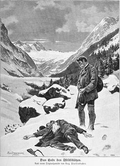 End of the poacher, illustration based on a painting of August Dieffenbacher 1894.