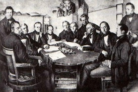 A meeting of a board of directors of the Leipzig–Dresden Railway Company in 1852