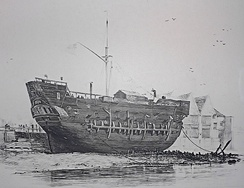 The beached convict ship HMS Discovery at Deptford served as a convict hulk between 1818 and 1834.