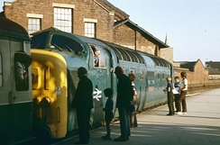A Deltic locomotive coupling to the Hull-King's Cross train, July 1975