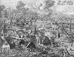 Contemporary picture of the flood that struck the North Sea coast of Germany and Denmark in October 1634.