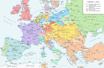The national boundaries within Europe are set by the Congress of Vienna, 1815
