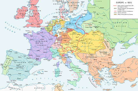 The boundaries set by the Congress of Vienna, 1815.