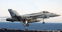 F/A-18E Super Hornet launching from the Abraham Lincoln