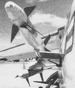 Side-view of two Sidewinder AAMs mounted on the unique Y-pylon
