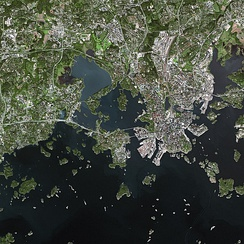 Parts of Helsinki and Espoo seen from the SPOT satellite