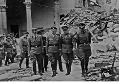 General Moscardó showing Heinrich Himmler the ruins of the Alcázar