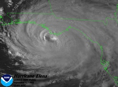 Satellite view of the hurricane's core on September 1, while traveling westward