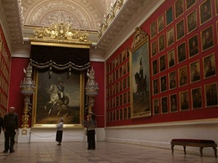 The hall of military fame in the Winter Palace with portraits of Russian generals