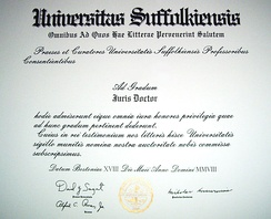 A typical juris doctor diploma, here from Suffolk University Law School