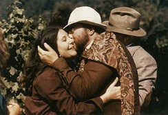 Pavarotti embraces Karen Kondazian on the set of Yes, Giorgio
